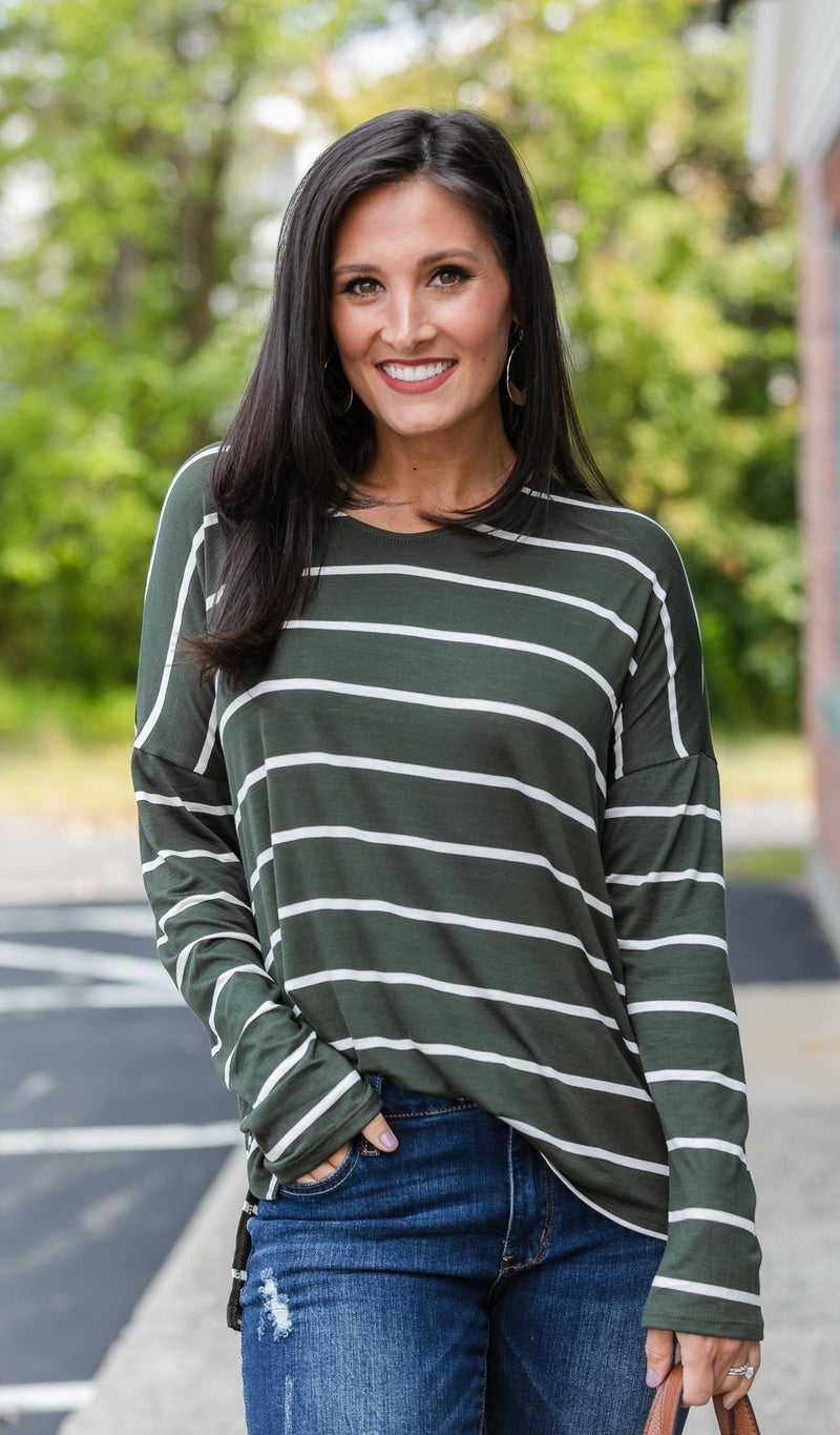 Walking on A Dream Stripe Top, Navy or Olive