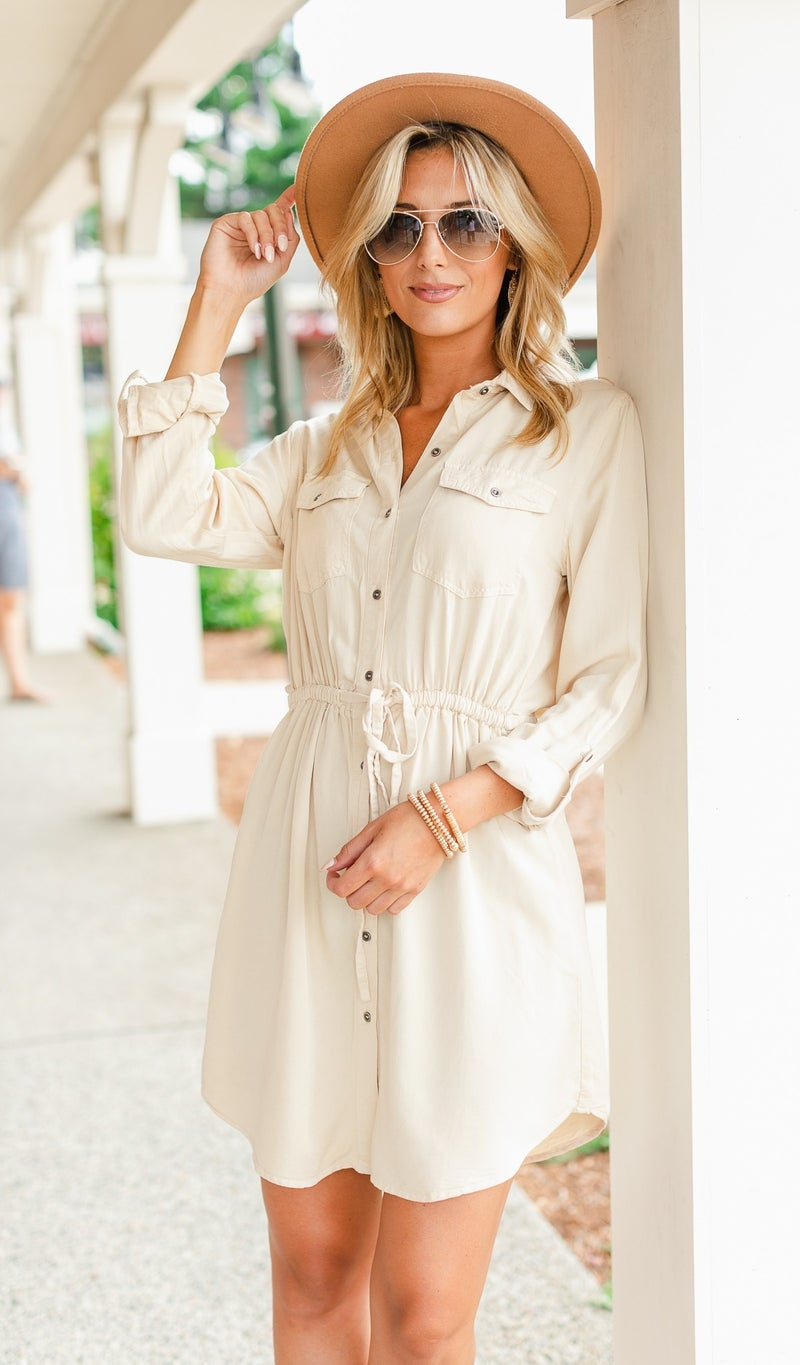 The Perfect Transition Dress, Beige
