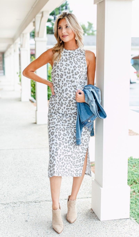 Clear Skies Midi Dress, Neutral Print
