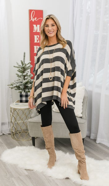 The Hayden Sweater Top, Black or Oatmeal