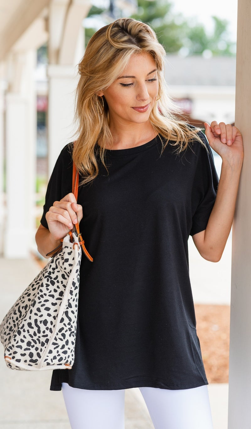 The Isabella Oversized Tee, Black New