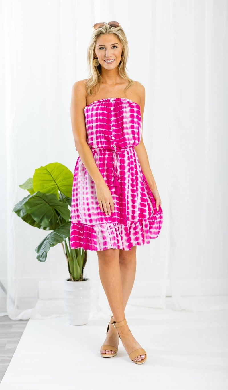 The Piper Tie Dye Dress, Hot Pink