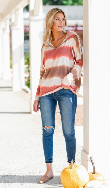 Living Life Top, Washed Rust Print