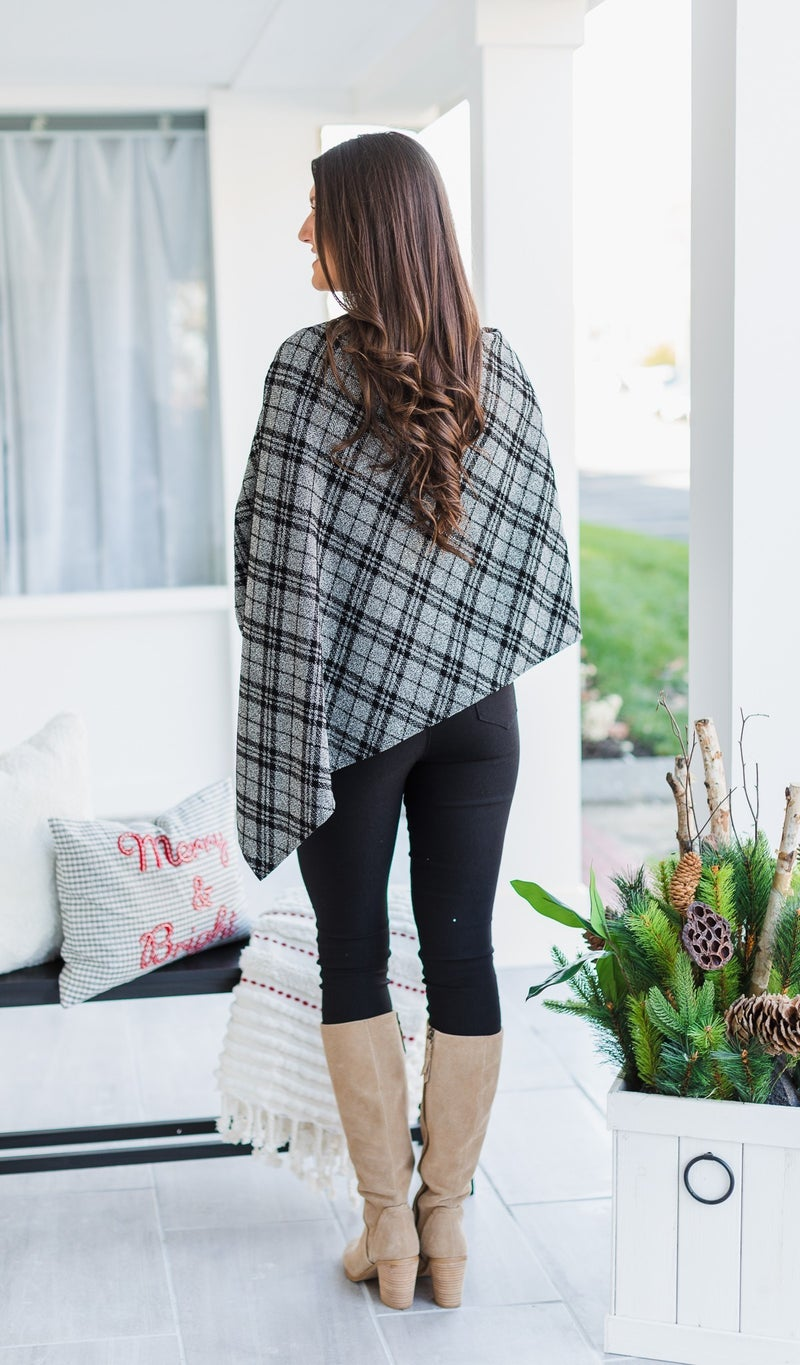 Statement Maker Poncho, Black & Grey Plaid