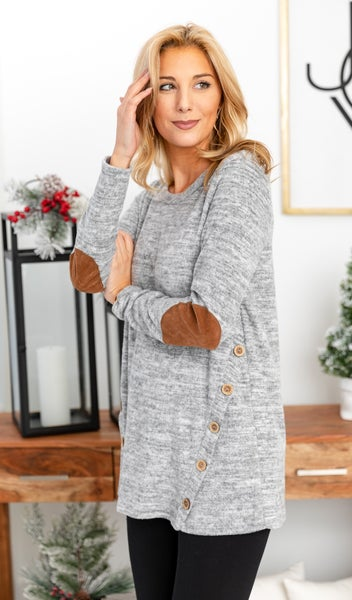 DOORBUSTER!!!  Emerson Knit Tunic, Heather Grey