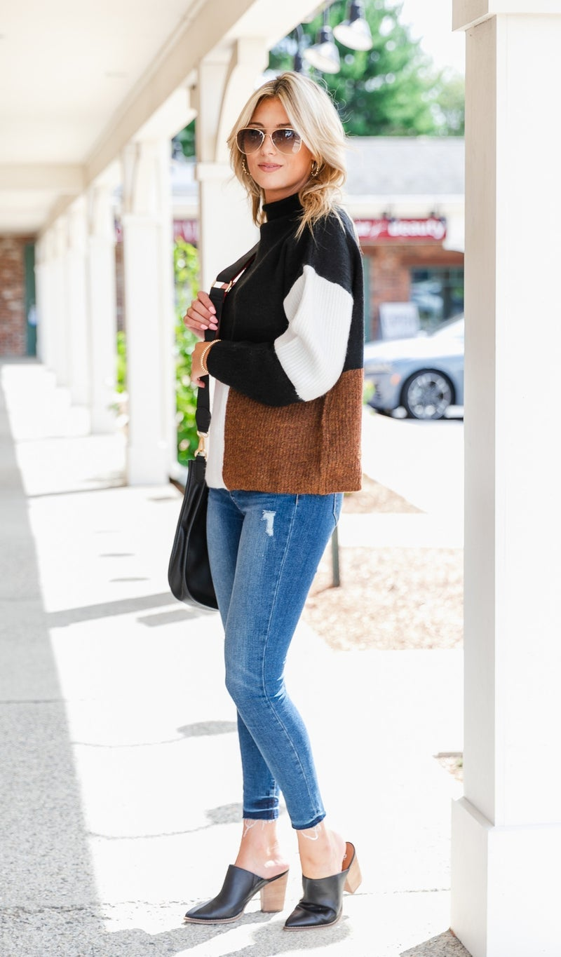 Chic Comforts Color Block Sweater, Camel or Black