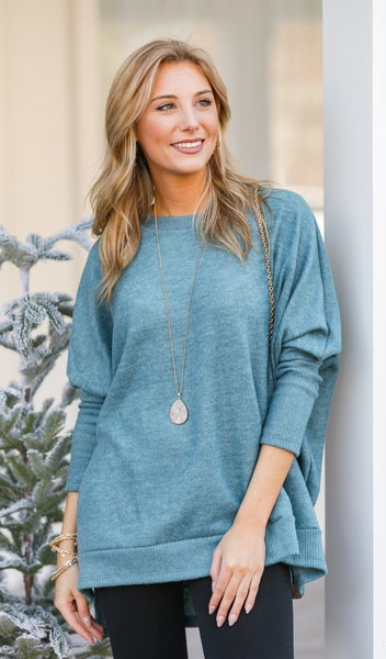 The Cassie Sweater, Teal *Final Sale*