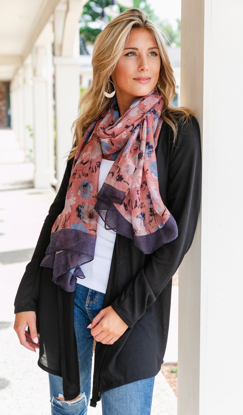 Floral Touch Scarf, Rose