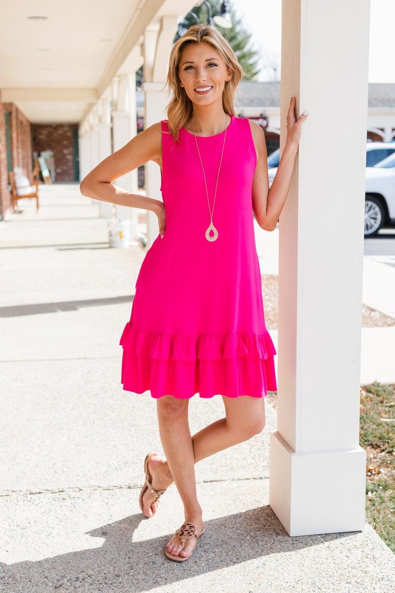 Calling Your Name Dress, Fuchsia