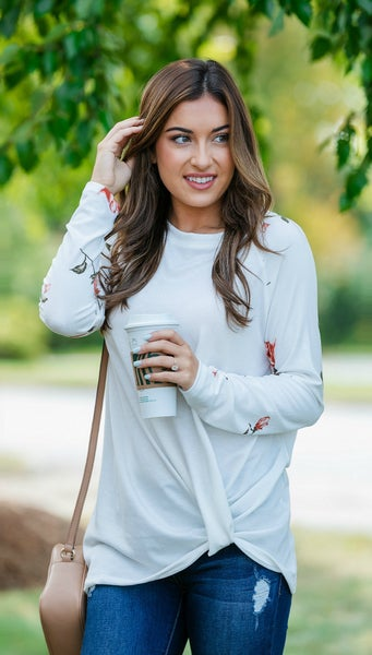 Grab N' Go Ivory Top/Tunic, Ivory Floral Sleeve