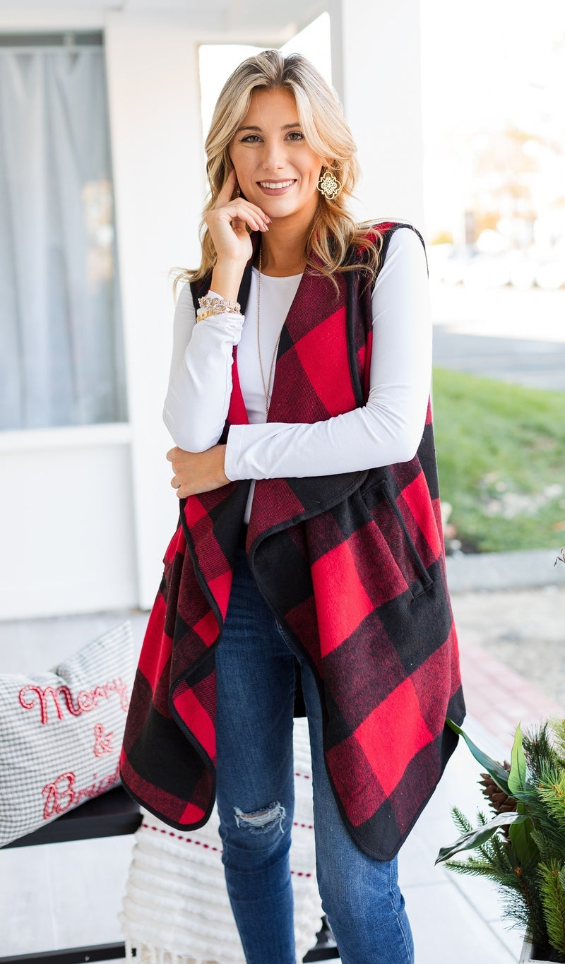 Must Have Check Vest, Red