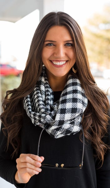 The Holiday Classic Scarf, Black Check