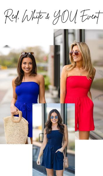 Aloha Romper, Red, Navy, Or Blue