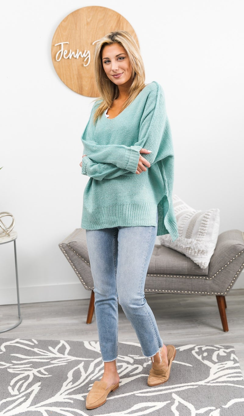 Early Nights Sweater, Mint