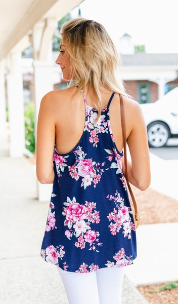 Smell The Flowers Tank, Navy
