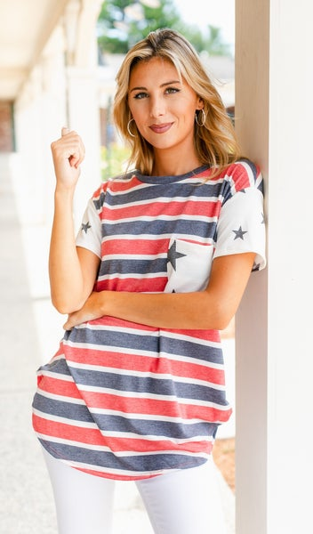 Free Star Tee, Red/White & Blue