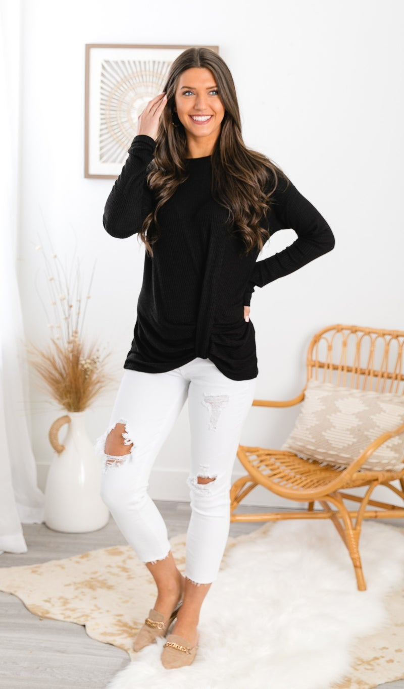 You Got This Thermal Twist Top, Black