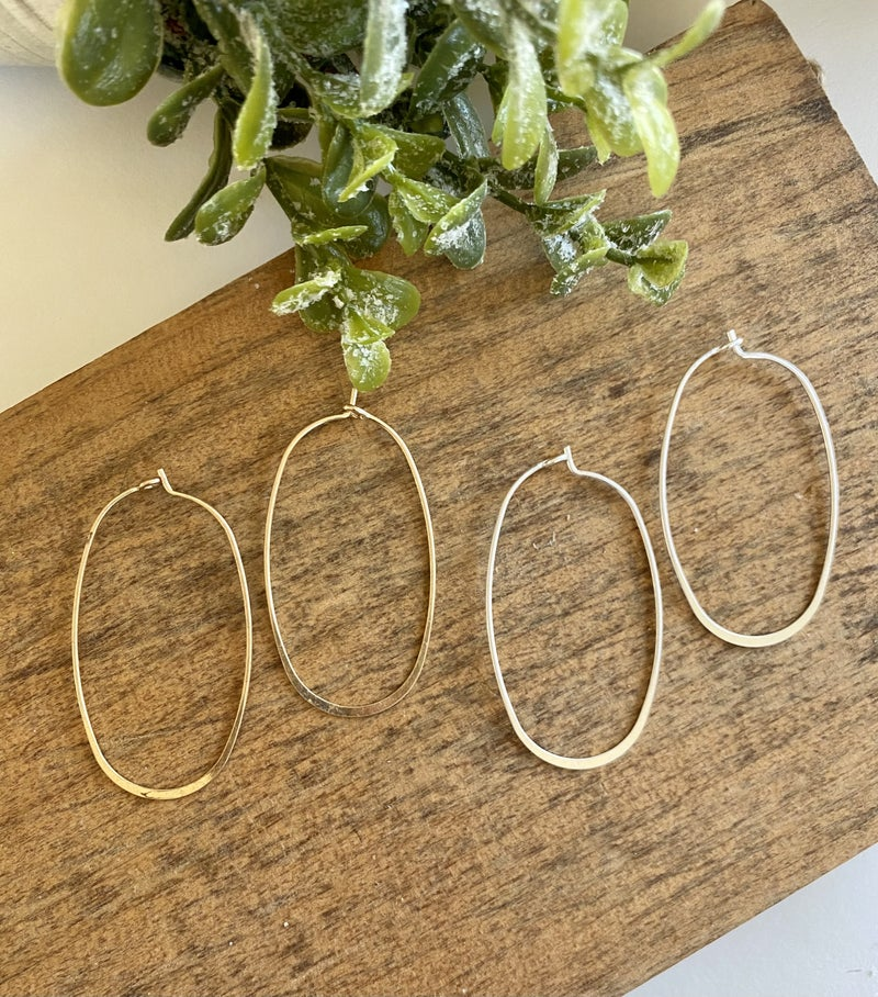 Brushed Silver & Gold Oval Hoops