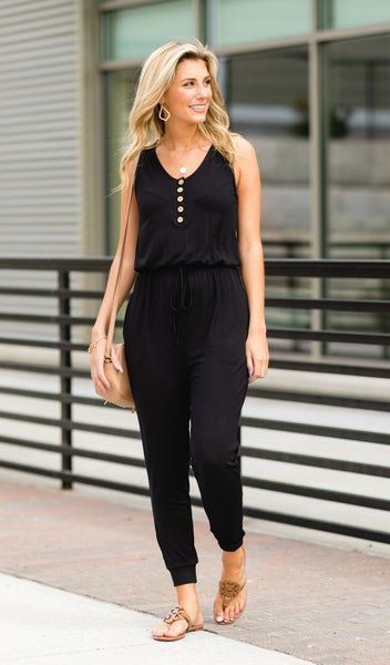 The Sporty Chic Jumpsuit, Black New