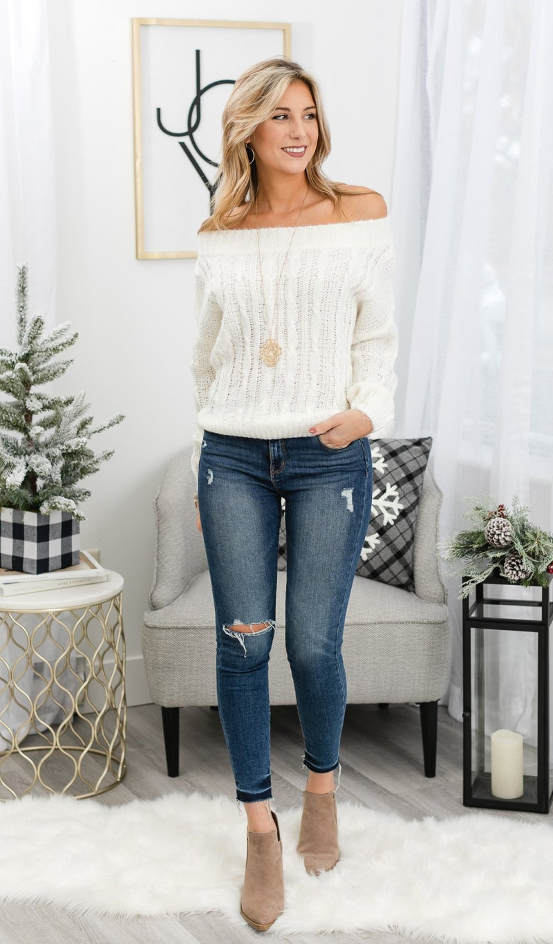 Knit For You Sweater, Cream