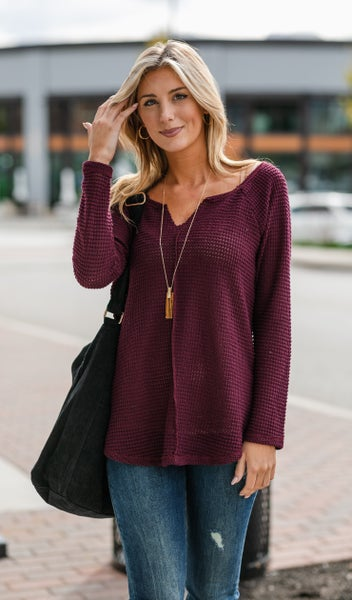 Whistler Waffle Knit Top, Burgundy