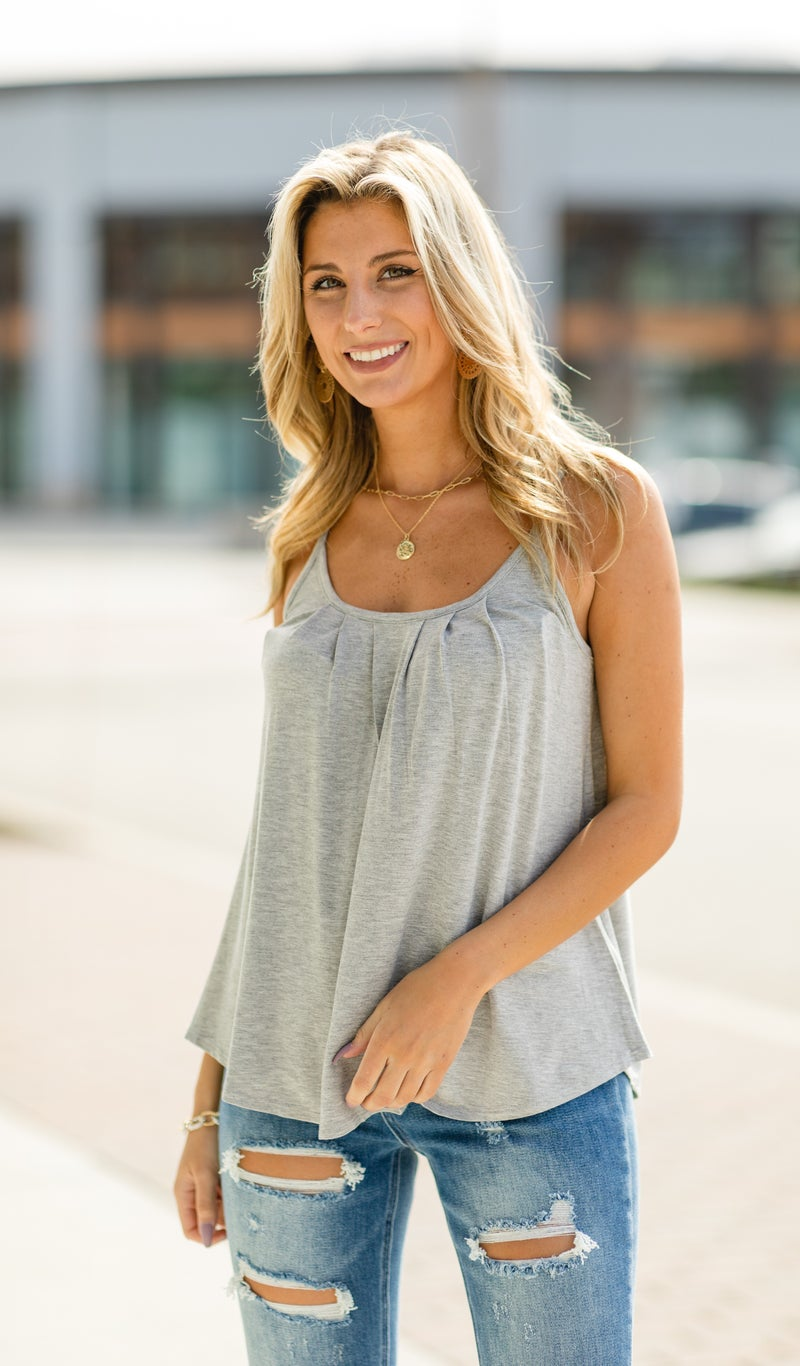Staple In Spring Tank, Heather Grey