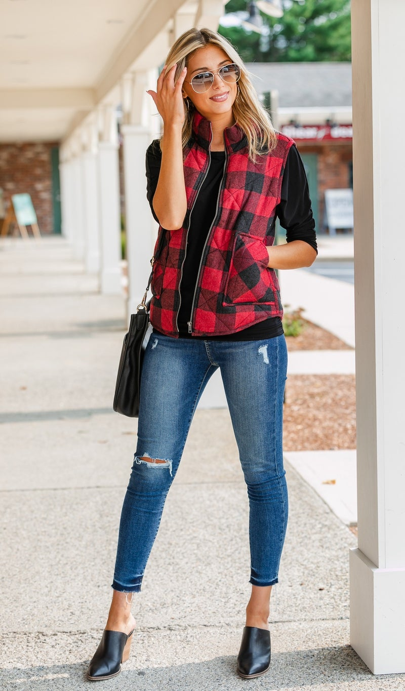 Orchard Ready Plaid Vest,  Red
