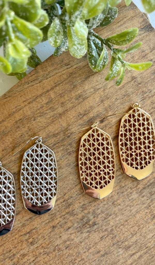 Waffle Knit Earrings, Silver and Gold