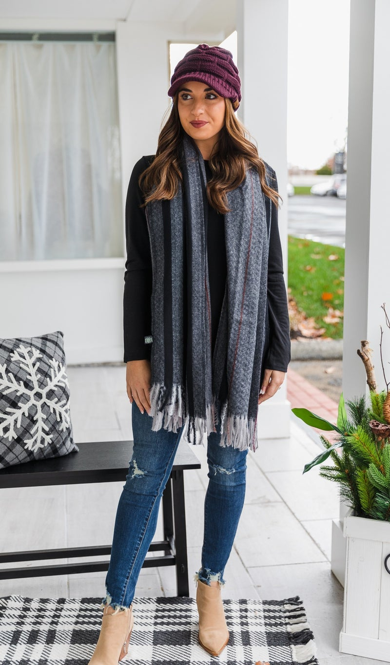 Feel The Warmth Scarf, Grey or Taupe