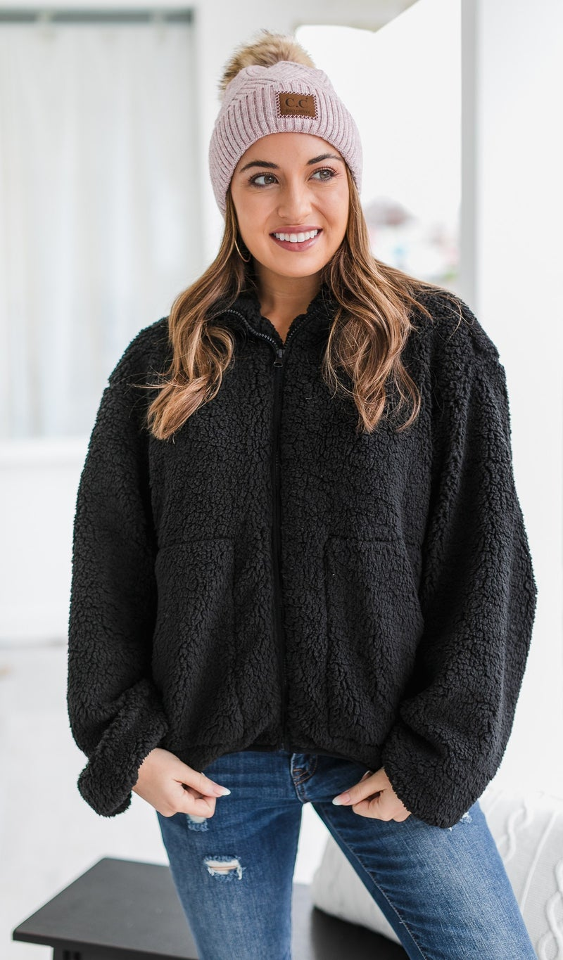 DOORBUSTER!  Cozy Vibes Jacket, Black
