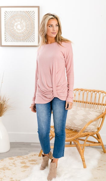 You Got This Thermal Twist Top, Blush