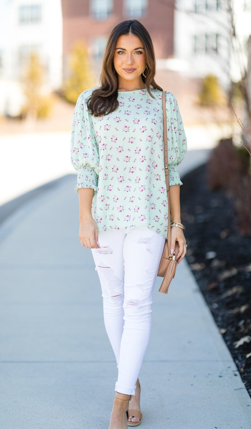 The Sally Floral Top, Mint