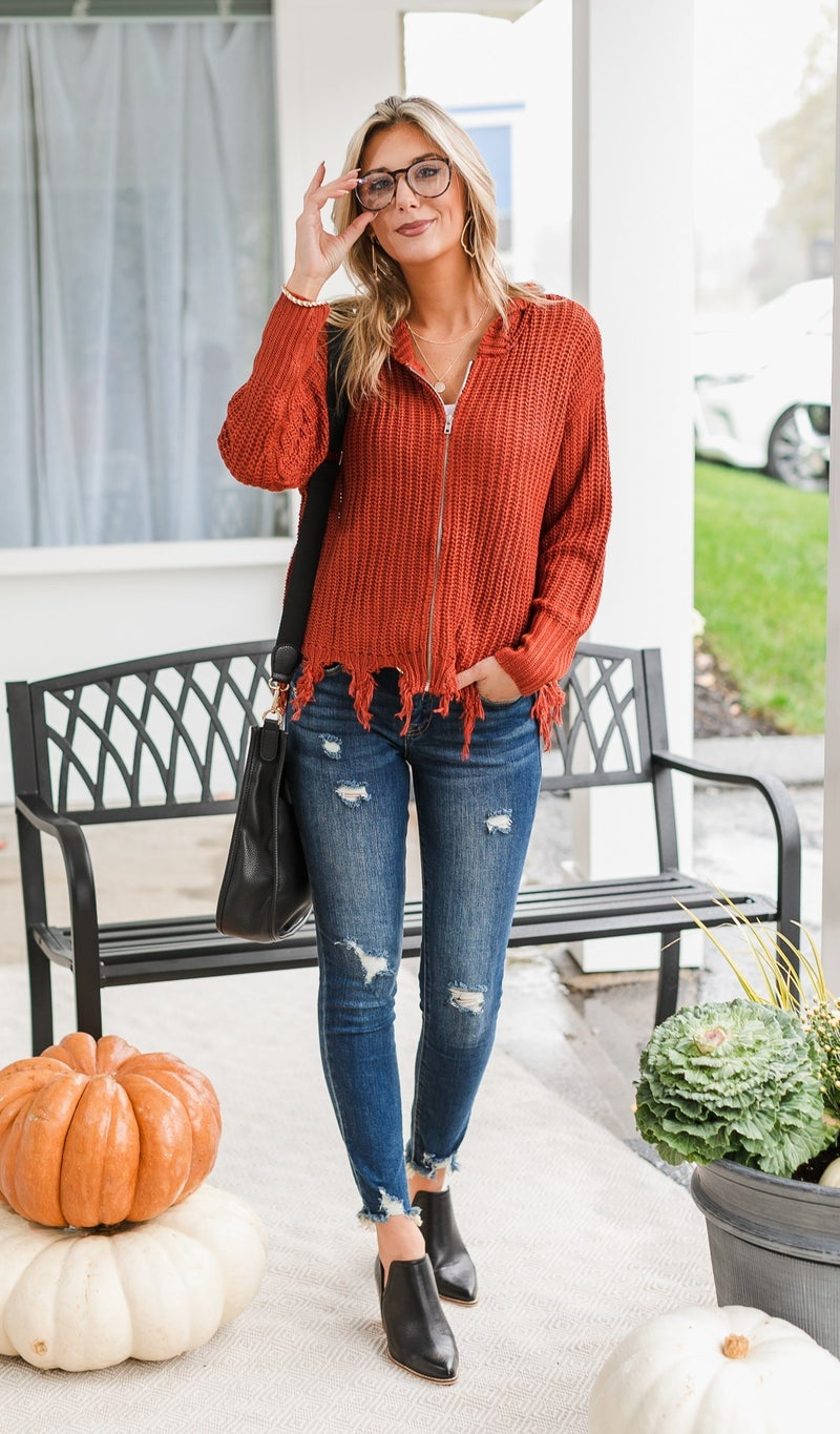 Chic Knit Zip-Up, Rust