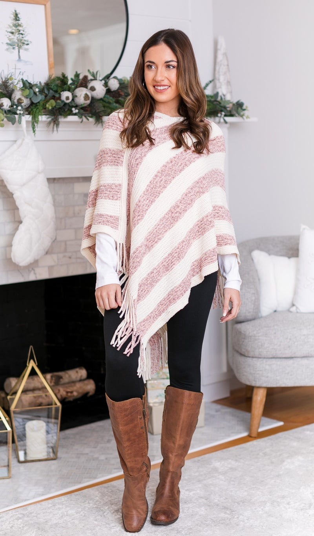 Fall Feels Soft Poncho,   Pink & Ivory  $9.99 DEAL!!! *Final Sale*