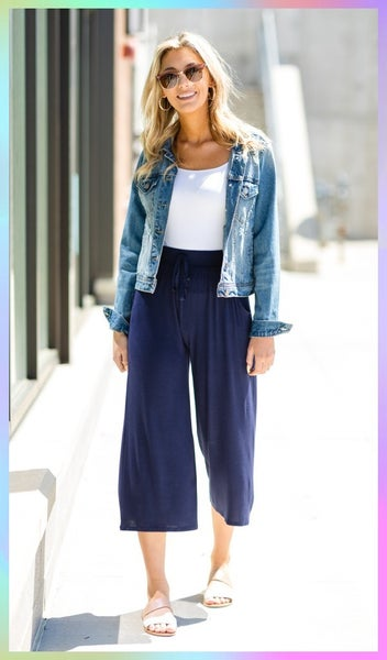 The Ava Wide Leg Cropped Pant, Navy