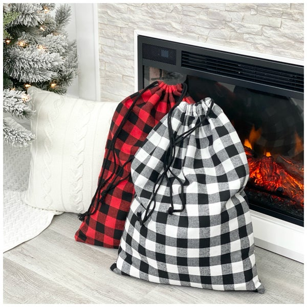 Check Print Santa Sacks, Red or White *Final Sale*
