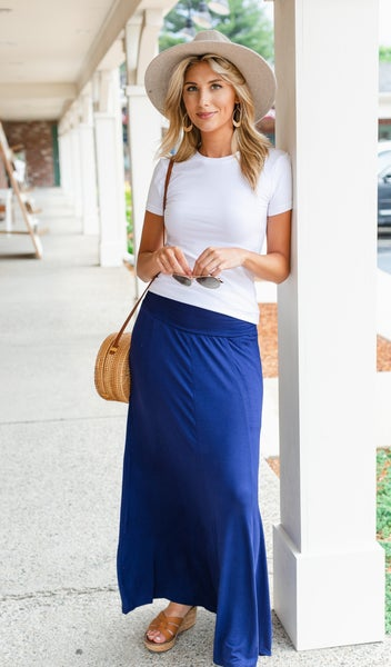 Get A Clue Maxi Skirt, Navy