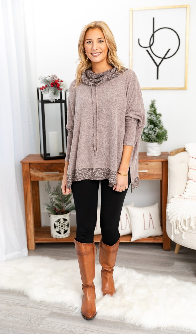The Erica Top, Charcoal or Taupe