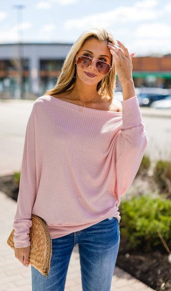 Waffle Favorite Dolman Sleeve Top, Dusty Pink