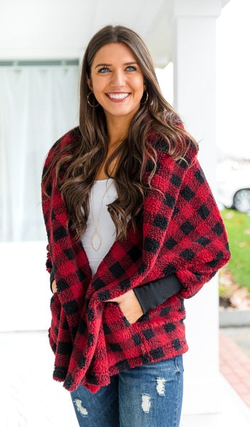 Falling Snow Cardigan, Red Check