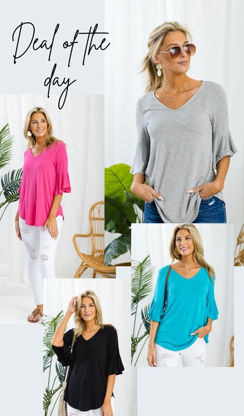 The Vanessa Top, Black, Fuchsia, Heather Grey or Light Blue