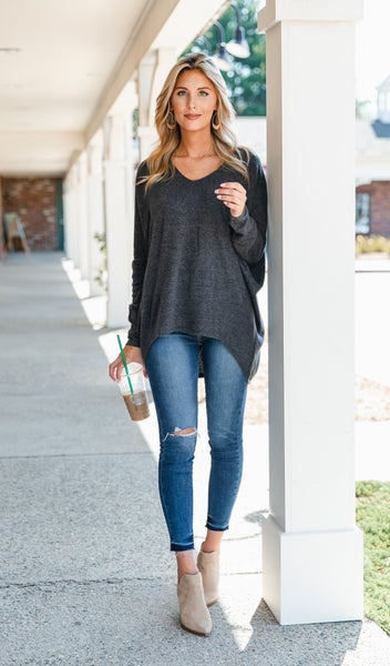 The Candace Sweater, Charcoal or Wine