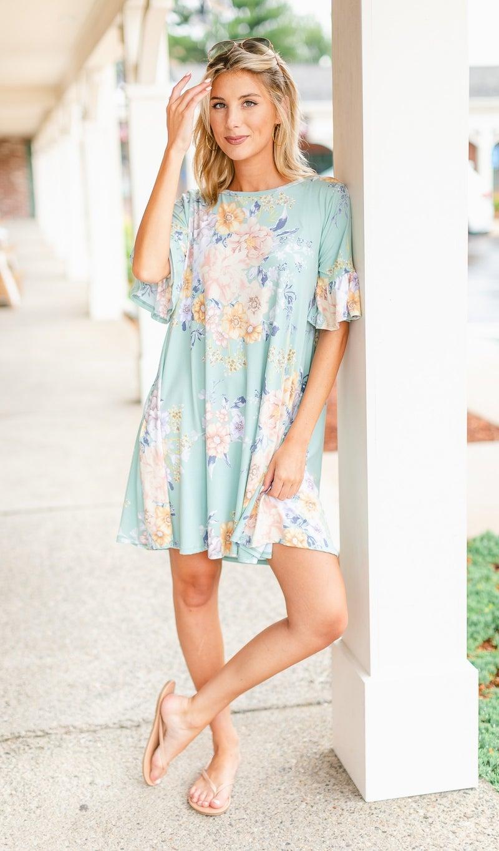 Summer Ruffles Dress, Sage