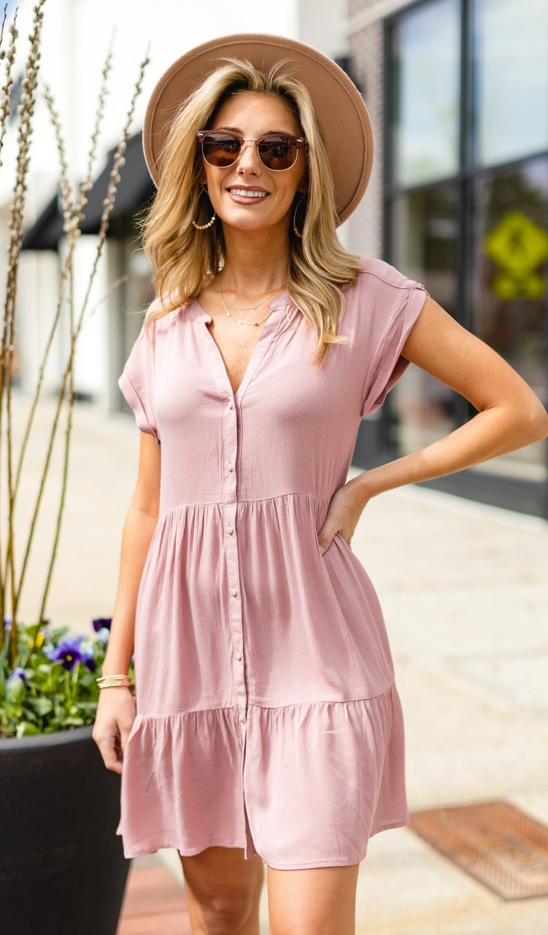 Simple and Sweet Dress, Mauve