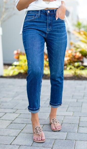 The Brielle Boyfriend Jeans, Dark Denim
