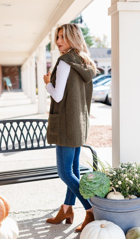 Feel Warmth Sherpa Vest, Olive or Grey
