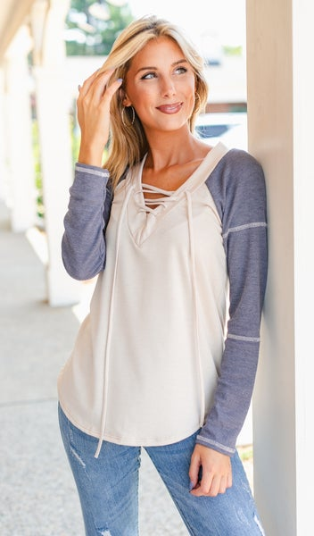 Fall For You Top, Navy