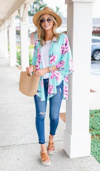 Spring Days Ahead Kimono, Mint