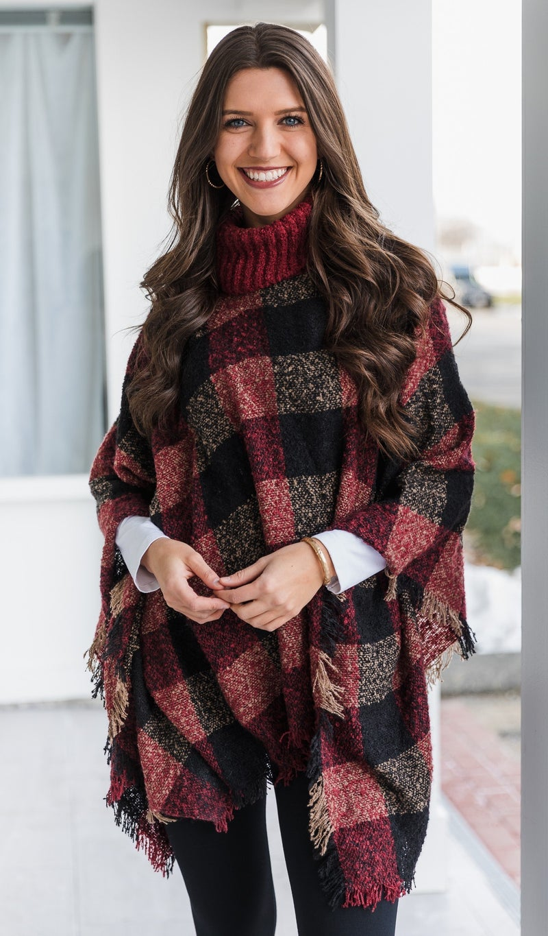 Wynona Poncho, Black/Red Buffalo Check