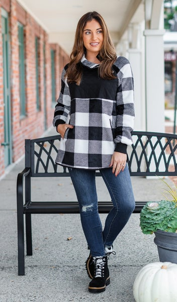 Playful Pattern Pullover, White Buffalo Check